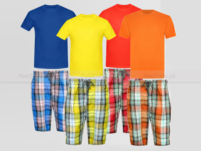 4 Plaid Shorts with 4 Plain T-Shirts Price in Pakistan