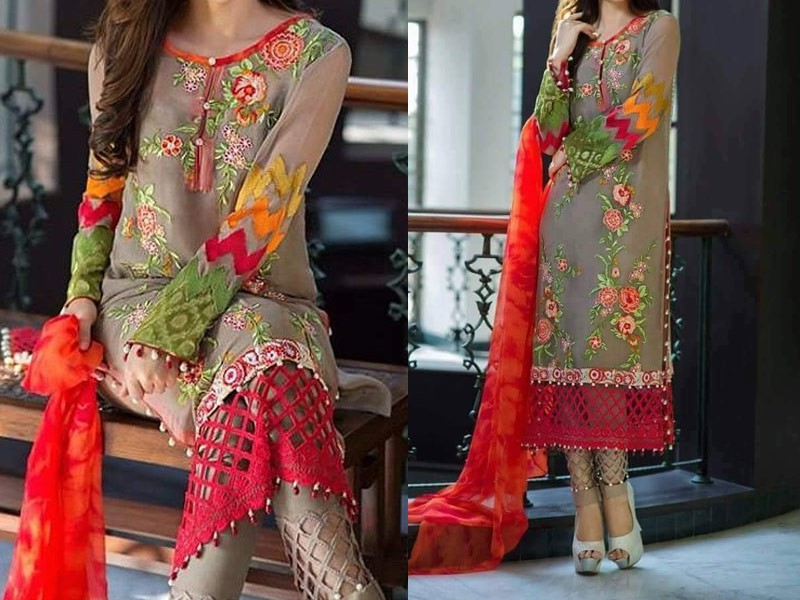 Designer Embroidered Chiffon Dress Price In Pakistan