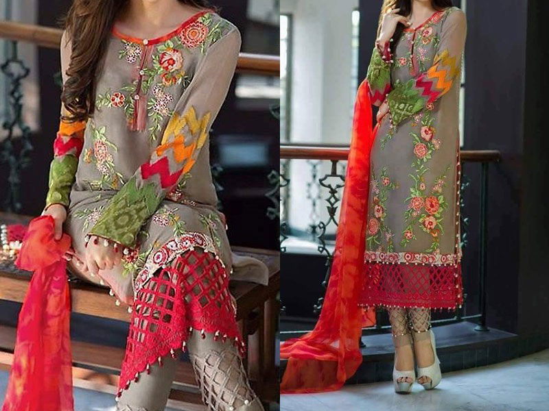 Multicolor Embroidery Chiffon Dress Price In Pakistan