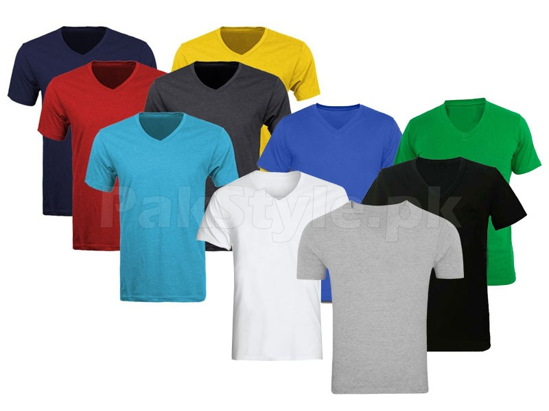 100 V-Neck T-Shirts on Wholesale Price in Pakistan
