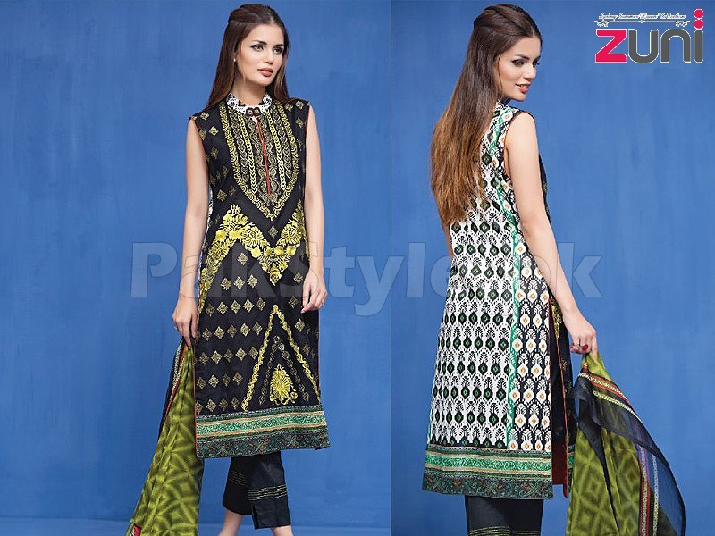 Zuni Embroidered Lawn Suit