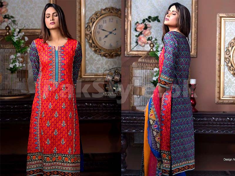 MTF Embroidered Lawn with Chiffon Dupatta 8-A