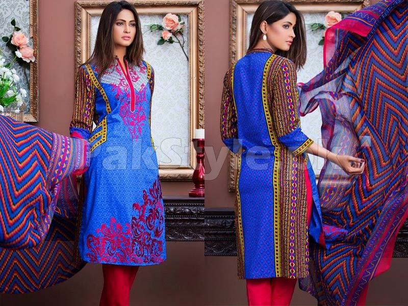 MTF Embroidered Lawn with Chiffon Dupatta 9-B