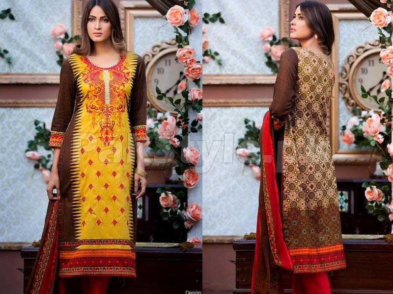 MTF Embroidered Lawn with Chiffon Dupatta 11-A