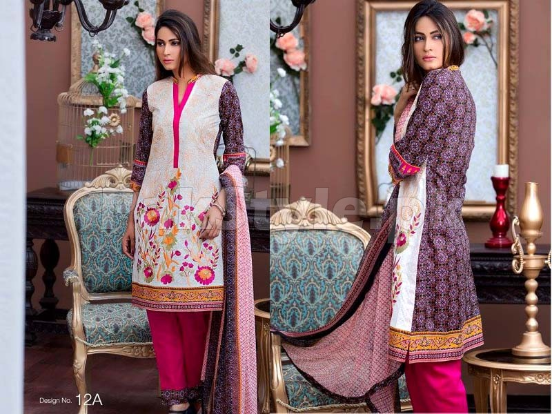 MTF Embroidered Lawn with Chiffon Dupatta 12-A
