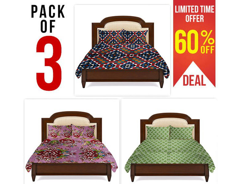 Combo Deal of 3 King Size Bed Sheets Price in Pakistan
