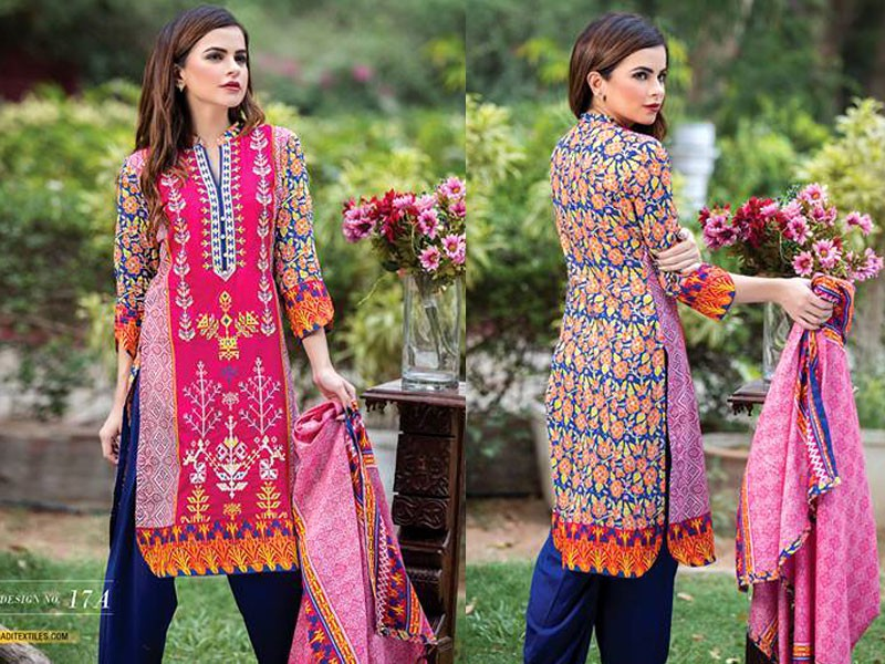 MTF Embroidered Lawn with Chiffon Dupatta 17-A