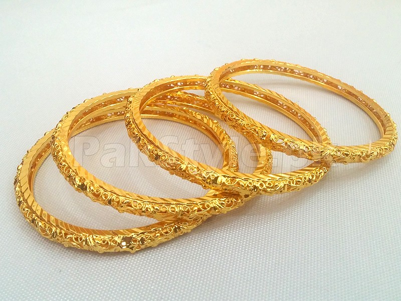 4 Gold Plated Kada Bangles Set Price in Pakistan M Check