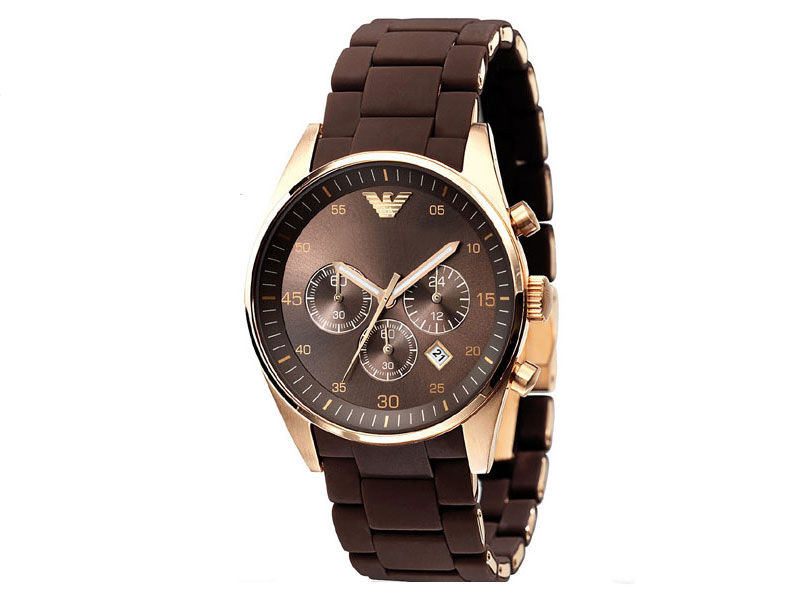 Stylish Rubber Strap Brown Watch