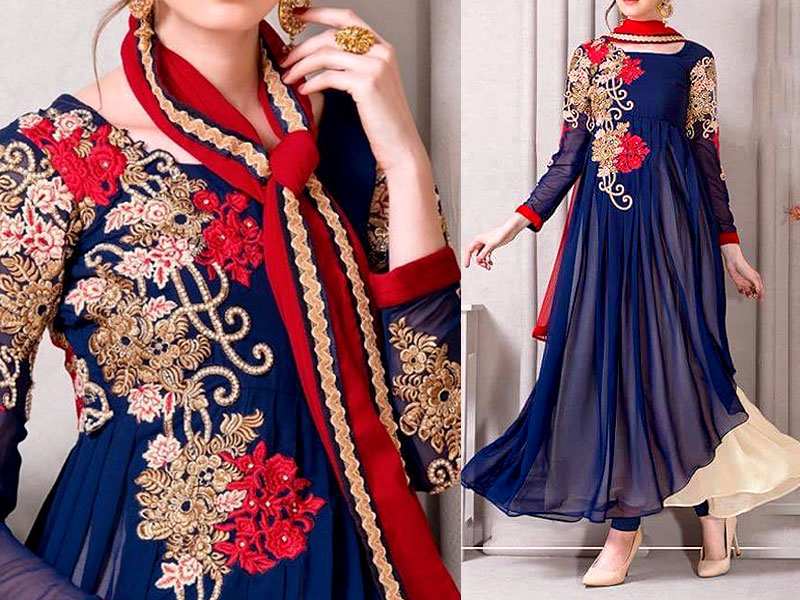 Royal Splash Embroidered Chiffon Frock Price in Pakistan