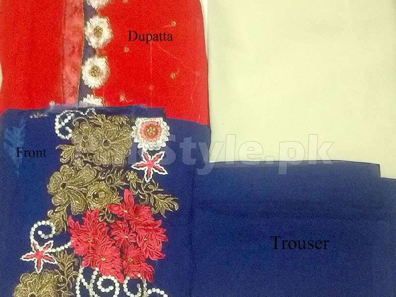 Royal Splash Embroidered Chiffon Frock in Pakistan