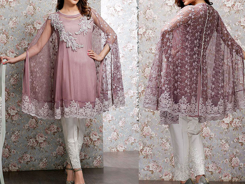 Handwork Heavy Embroidered Net Dress with Chiffon Dupatta Price in Pakistan