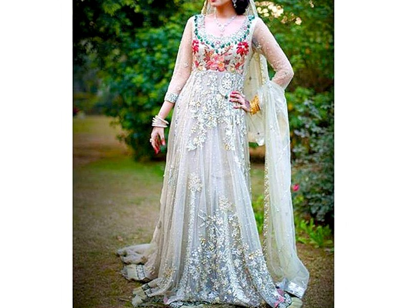 Designer Embroidered Net Maxi Dress Price in Pakistan