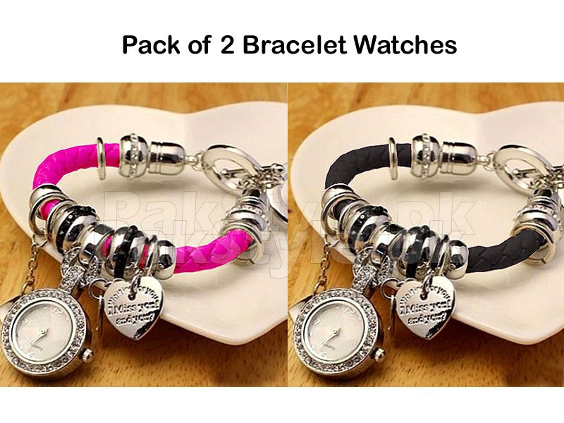 Pack of 2 Multi Charm Bracelet Watches Price in Pakistan