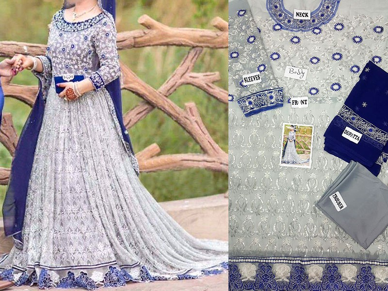Embroidered Chiffon Bridal Frock Price in Pakistan