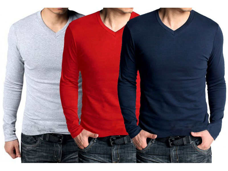 Pack of 3 V-Neck Full Sleeves T-Shirts Price in Pakistan