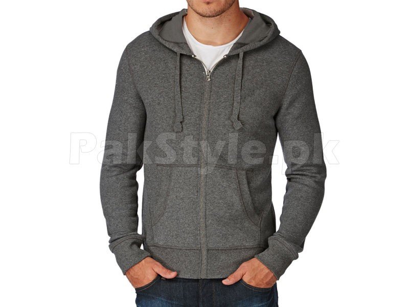Plain Zip-Up Hoodie Charcoal Price in Pakistan