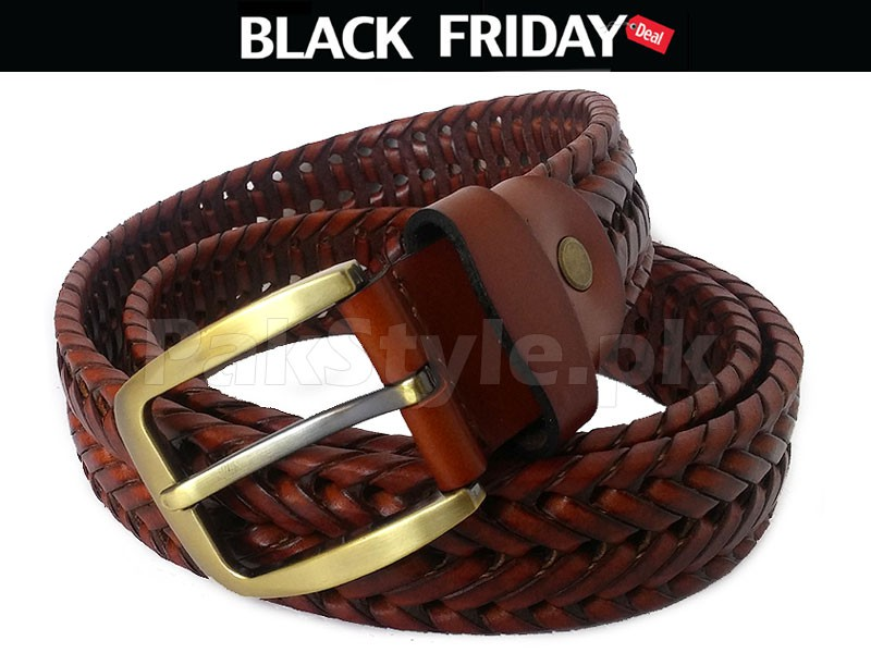 Men's Knitted Leather Belt