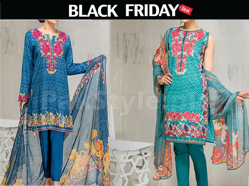 2 Embroidered Lawn Suits Black Friday Deal Price in Pakistan
