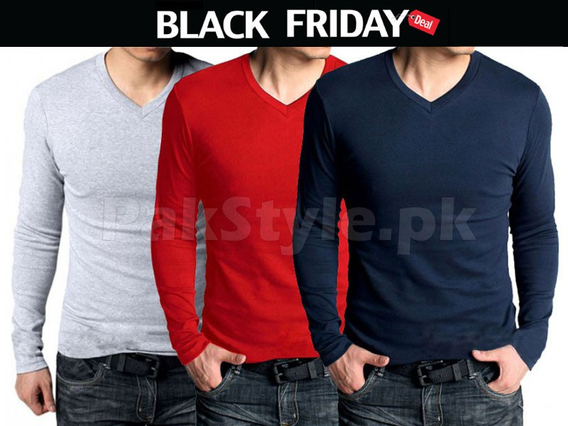 3 V-Neck Full Sleeves T-Shirts Black Friday Deal Price in Pakistan