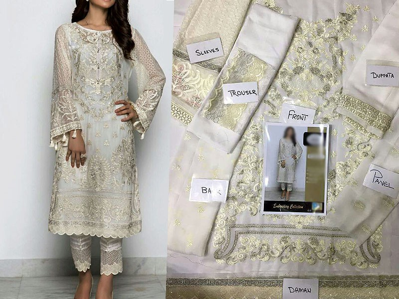 Embroidered Chiffon Suit with Chiffon Dupatta