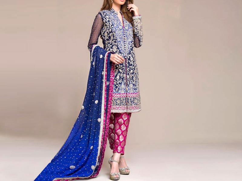 Indian Embroidered Navy Blue Chiffon Maxi Price in Pakistan