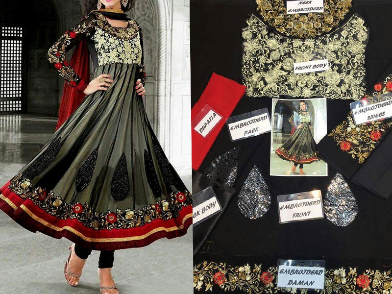 Indian Embroidered Chiffon Frock Price in Pakistan
