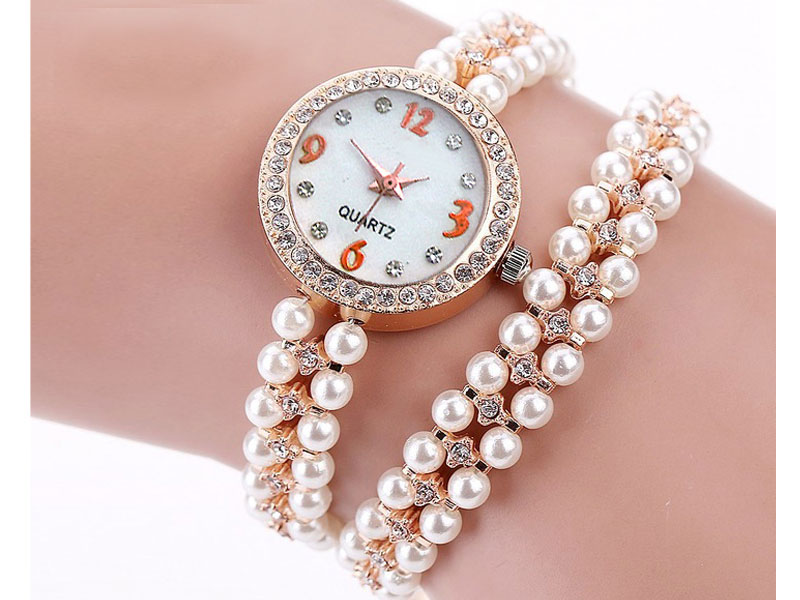 Girls Pearl Bracelet Watch