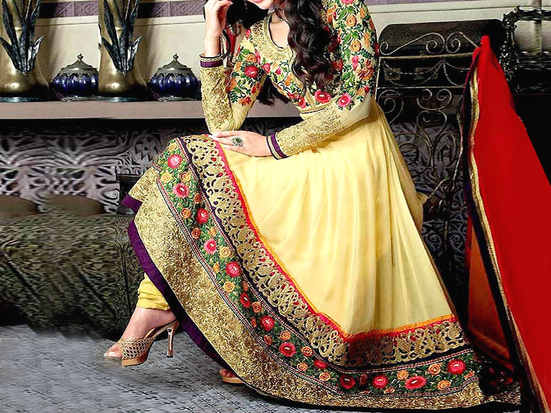 Indian Embroidered Yellow Chiffon Frock