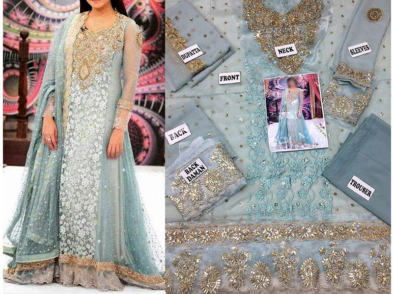 Embroidered Chiffon Suit with Dupatta