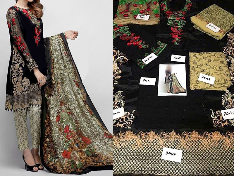 Chiffon Embroidered Suit with Dupatta Price in Pakistan