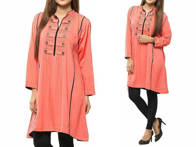 aa67765f0e46 Women s Boski Linen Kurti - Peach Price in Pakistan (M009138) - 2019 ...