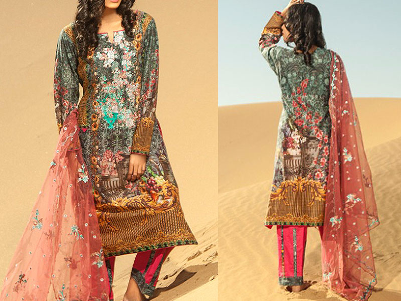 Savanah Digital Print Embroidered Lawn V1-07