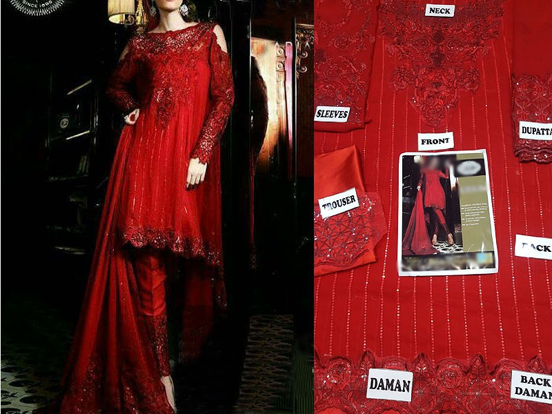 Embroidered Chiffon Red Dress Price in Pakistan
