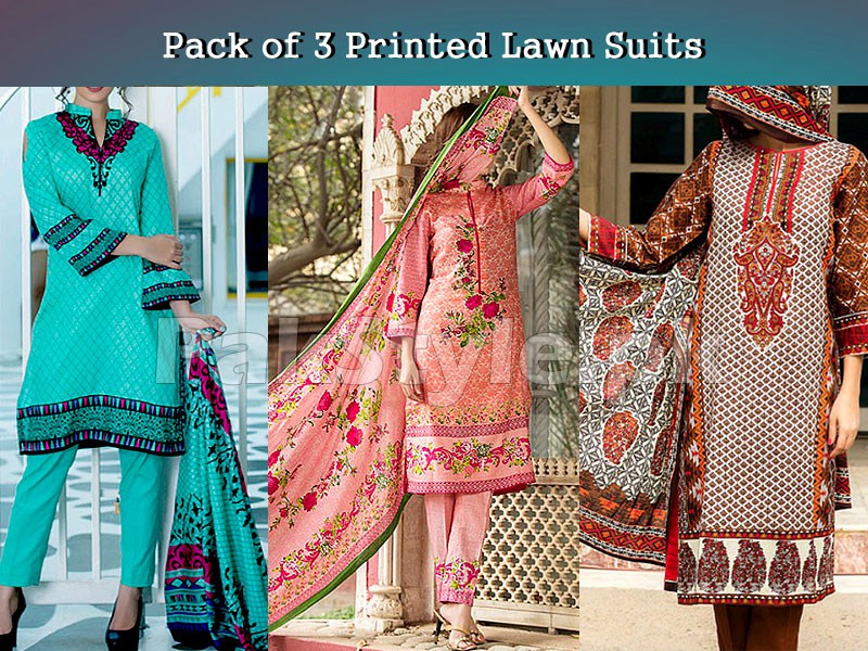 3 Printed Lawn Suits Bundle Pack Price in Pakistan
