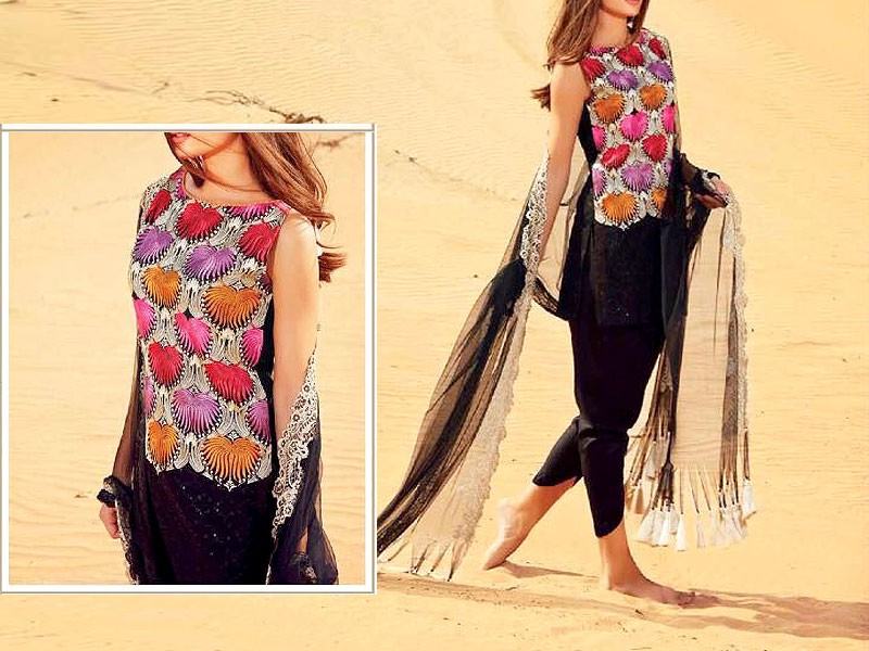 Swiss Embroidered Lawn Dress with Net Dupatta