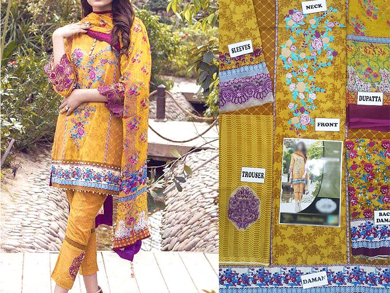 Embroidered Lawn Suit with Chiffon Dupatta Price in Pakistan