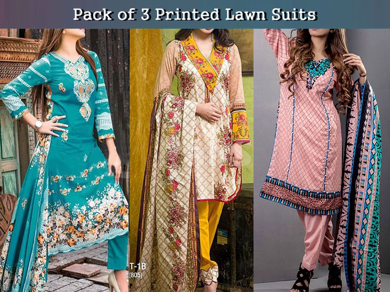 Pack of 3 Printed Lawn Suits