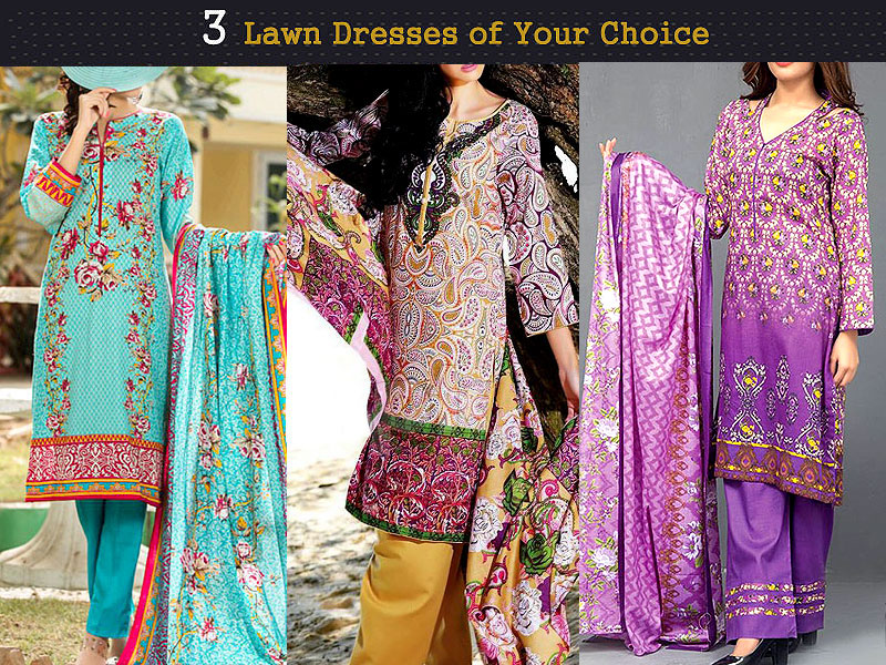 Pack of 3 Printed Lawn Suits of Your Choice Price in Pakistan