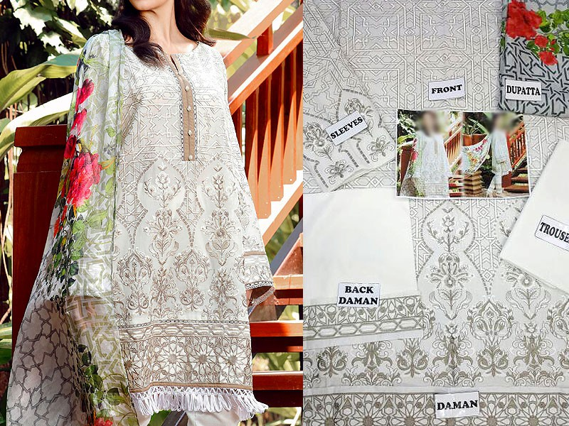 Embroidered Swiss Lawn Dress with Silk Dupatta