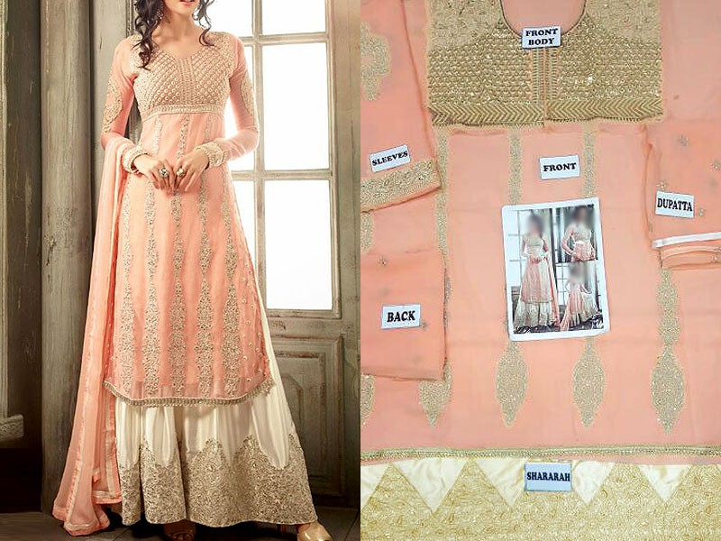 Indian Light Peach Chiffon Lehenga Price in Pakistan