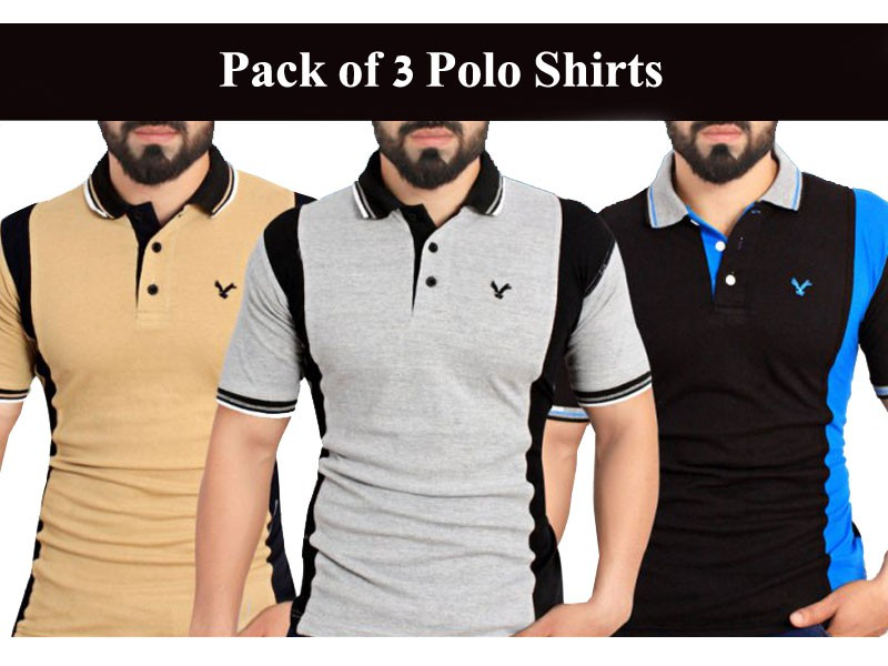 Pack of 3 Polo T-shirts Price in Pakistan
