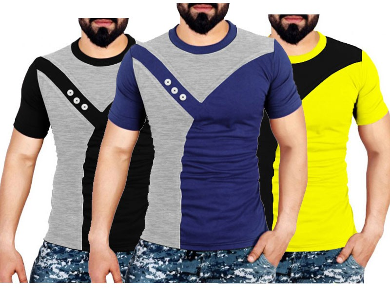 Pack of 3 Round Neck Designer T-shirts Price in Pakistan