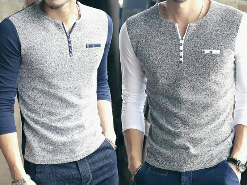 Pack of 2 Contrast Full Sleeves T-shirts Price in Pakistan