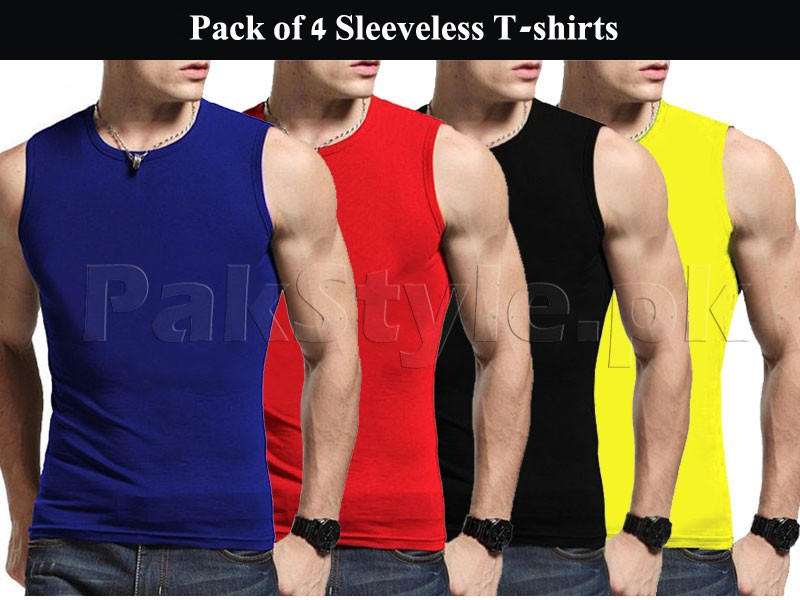 Pack of 4 Sleeveless Round Neck T-shirts Price in Pakistan