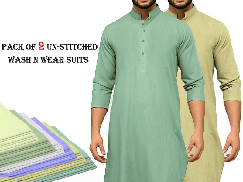 Pack of 2 Un-Stitched Mens Suits