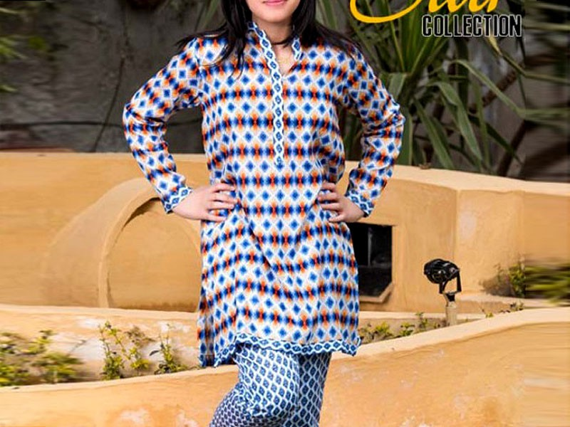 2 Piece Star Printed Lawn Suit 904-B