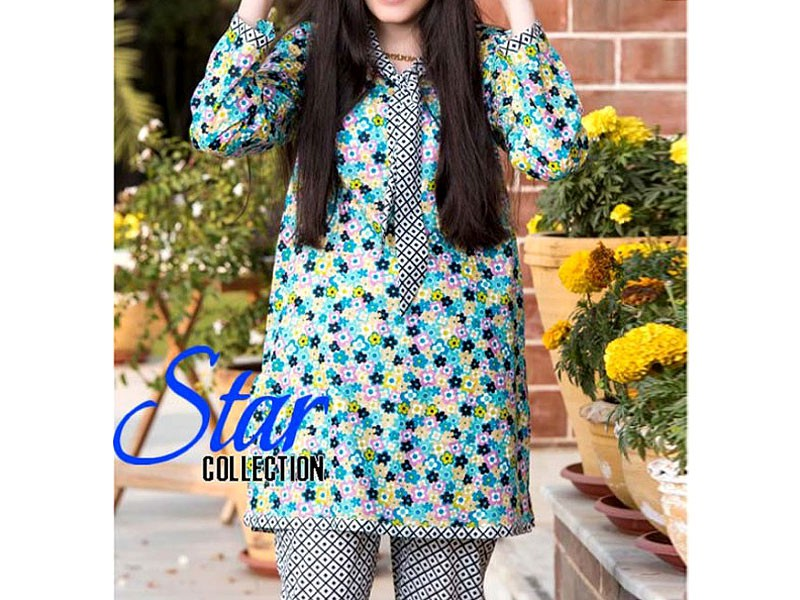 2 Piece Star Printed Lawn Suit 905-B