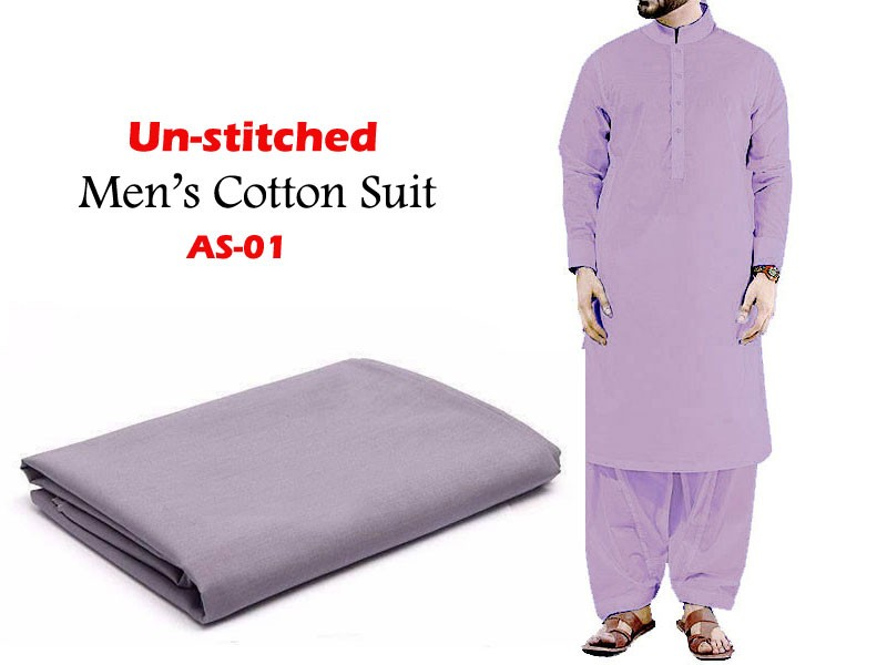 Al-Saudia Un-Stitched Men's Cotton Suit - AS-01