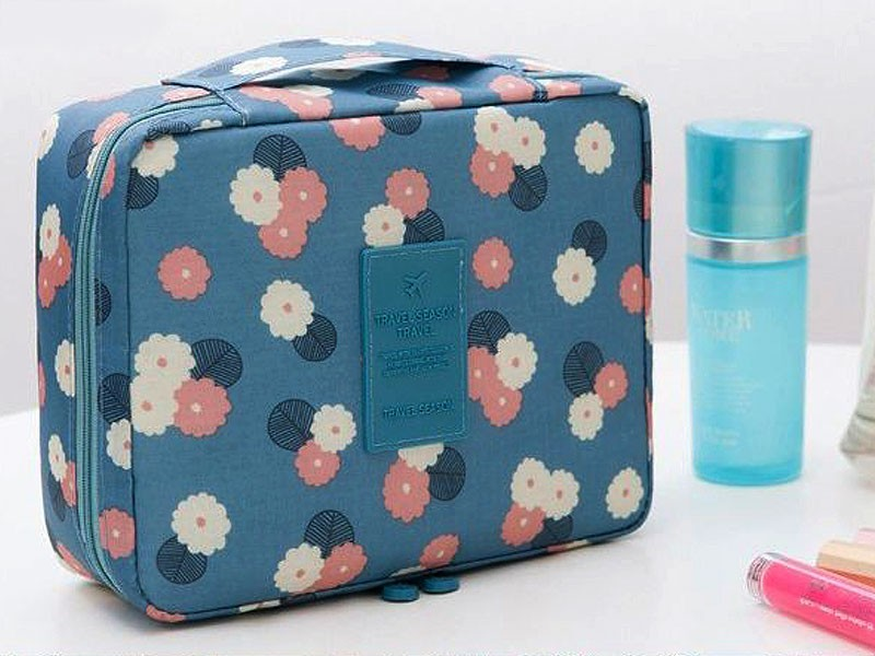 Floral Printed Cosmetics Bag - Blue Price in Pakistan
